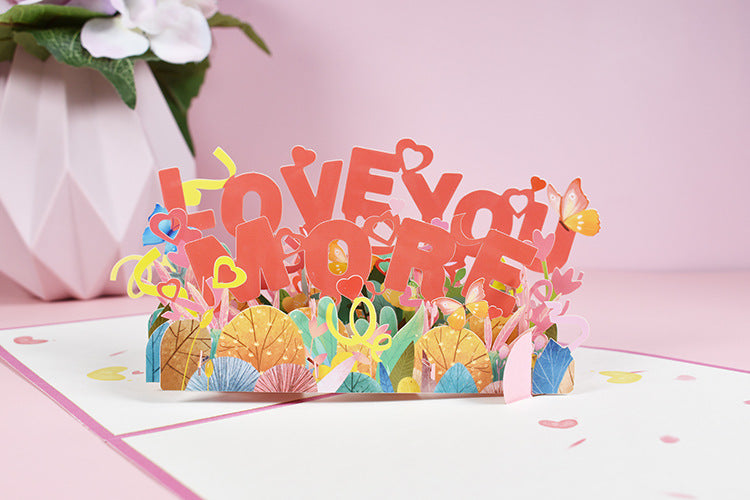 love you more pop up card - front view