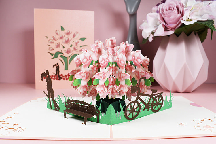 lovers and magnolia tree pop up card - card and front cover