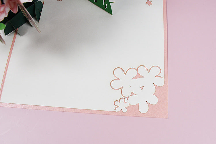lovers and magnolia tree pop up card - cut details