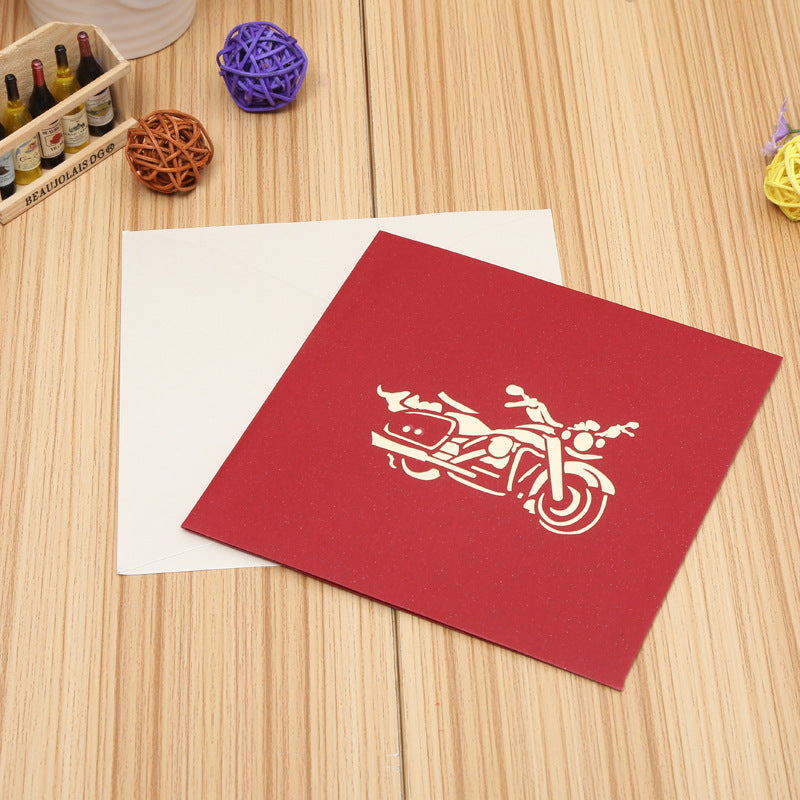 motorbike pop up card - front cover and matching envelope