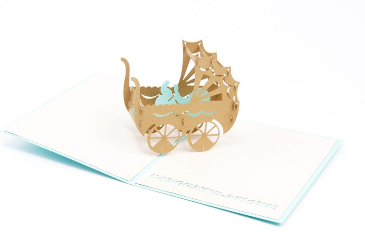 new baby boy pop up card - angle view