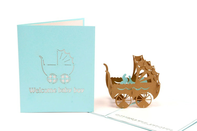 new baby boy pop up card - main view