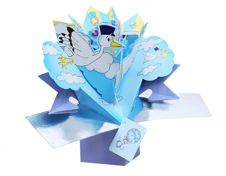 new baby explosion box card - left angle view