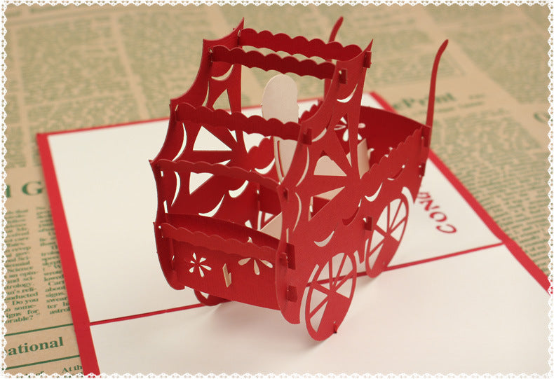new baby pop up card in red - pram close up
