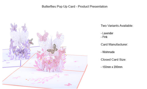 pink lavender butterfly pop up card product demo 1