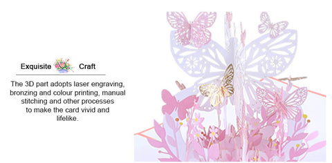 pink lavender butterfly pop up card product demo 2