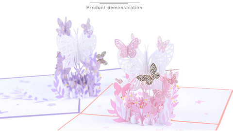 pink lavender butterfly pop up card product demo 4