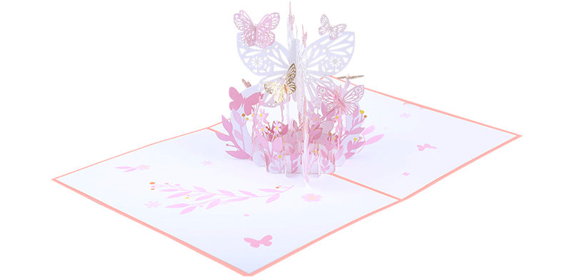 pink lavender butterfly pop up card product demo 5