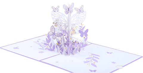 pink lavender butterfly pop up card product demo 6