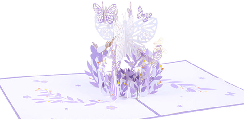 pink lavender butterfly pop up card product demo 7