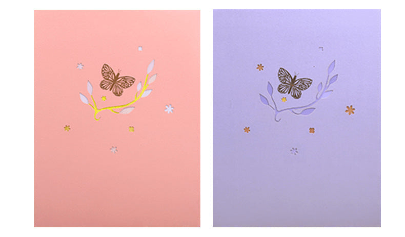 pink lavender butterfly pop up card product demo 8