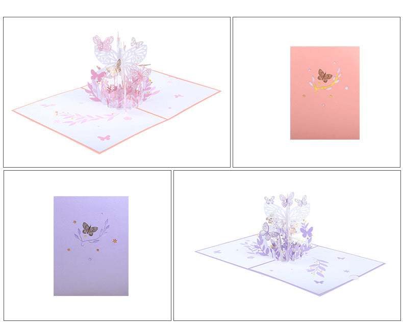 pink lavender butterfly pop up card product demo 9