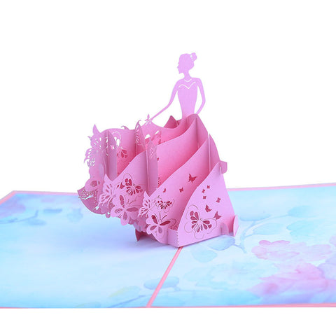 princess pop up card - close up
