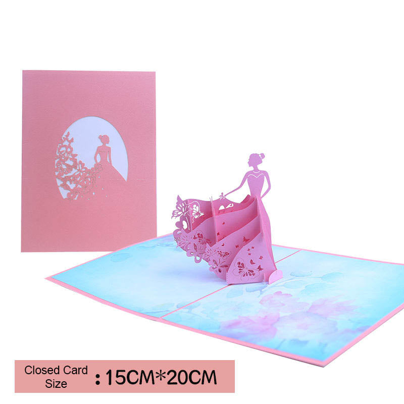 princess pop up card - size and cover card