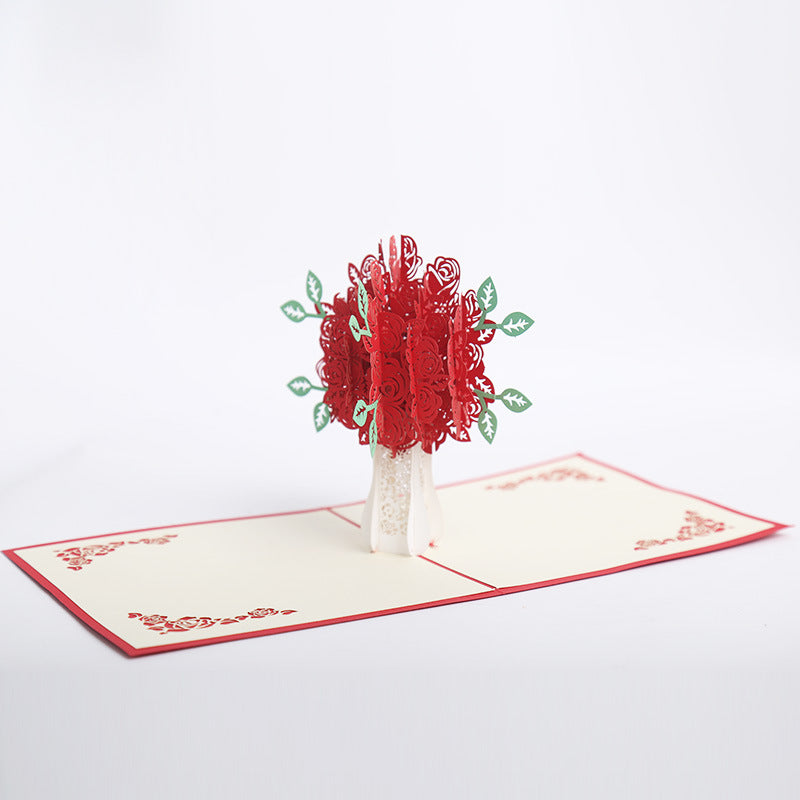 red rose bouquet pop up card - far view