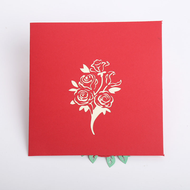 red rose bouquet pop up card - front cover
