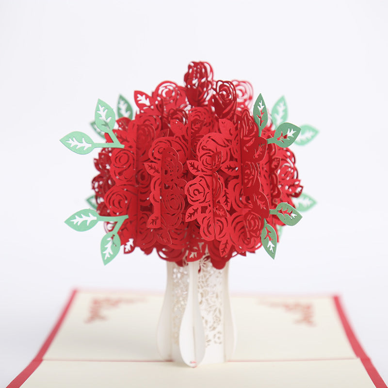 red rose bouquet pop up card - main view
