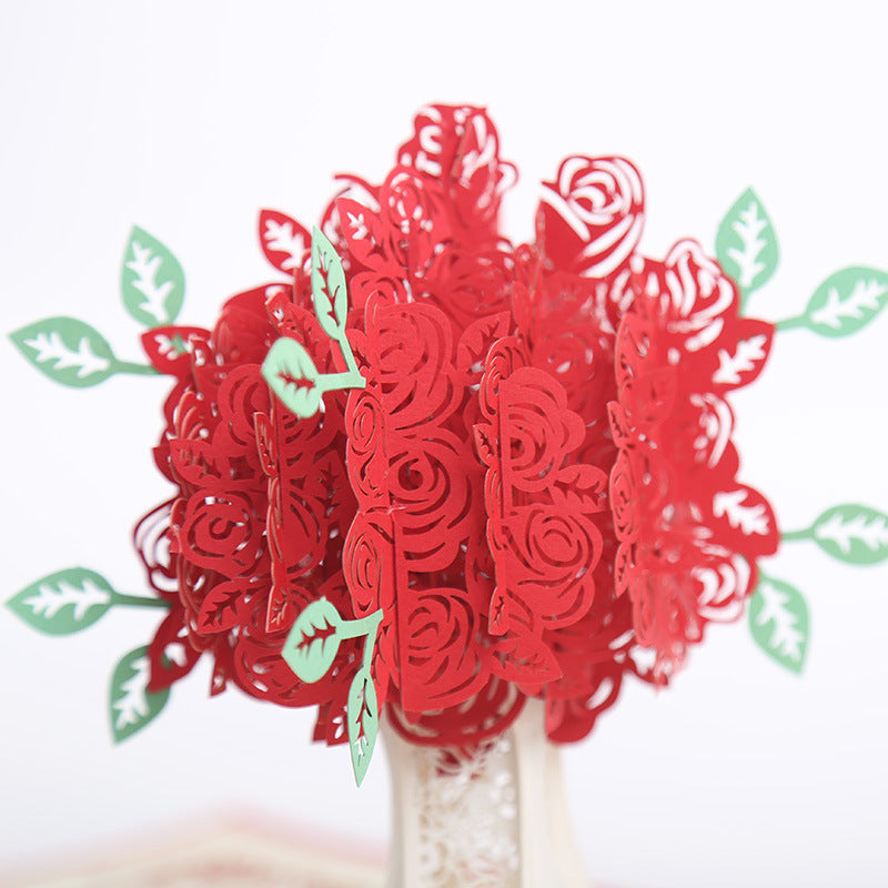 red rose bouquet pop up card - roses close up