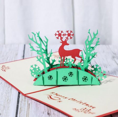 reindeer in the woods pop up card - angle view