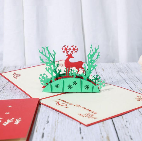 reindeer in the woods pop up card - main view