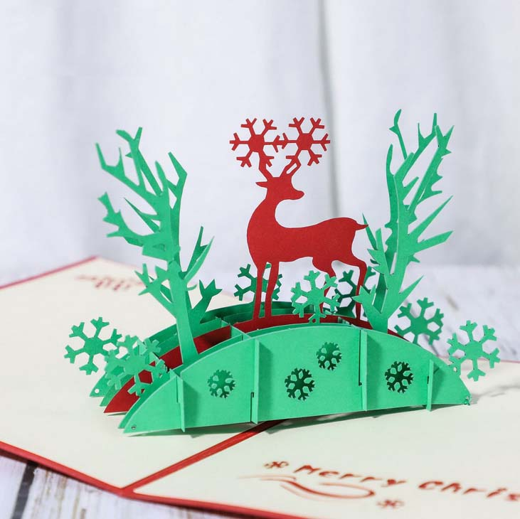 reindeer in the woods pop up card - close up