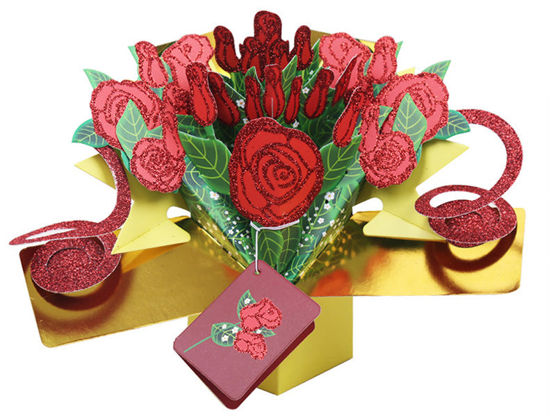 rose bouquet exploding card - main view