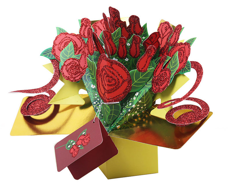 rose bouquet exploding card - side view 2