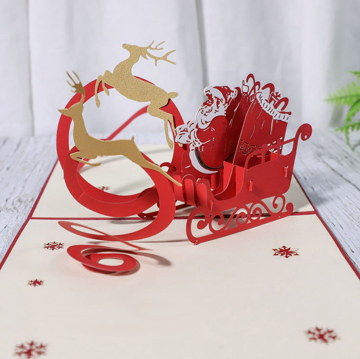 Santa in sleigh christmas pop up card - close up