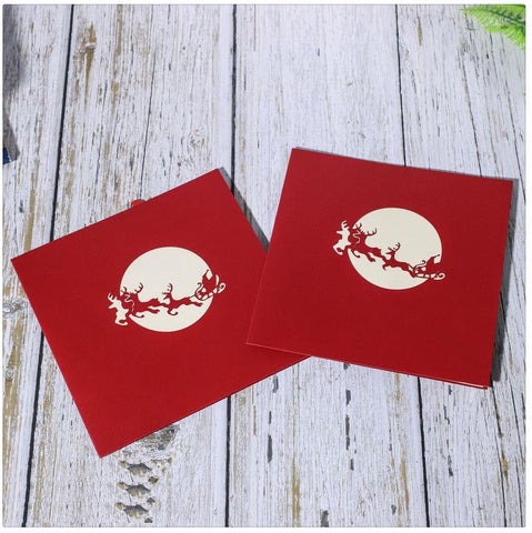 Santa in sleigh christmas pop up card - card covers