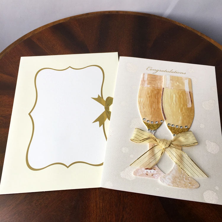 shampagne congrats card - card front and front of the matching envelope