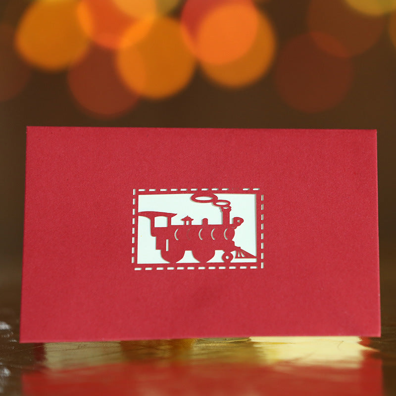steam locomotive pop up card - front cover