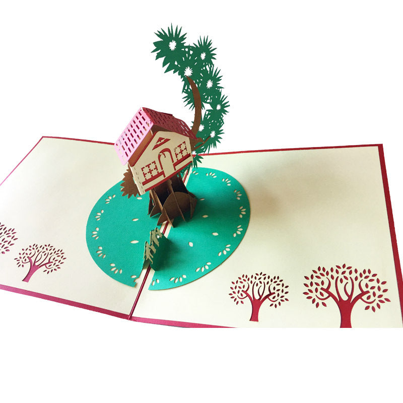 tree house pop up card top view