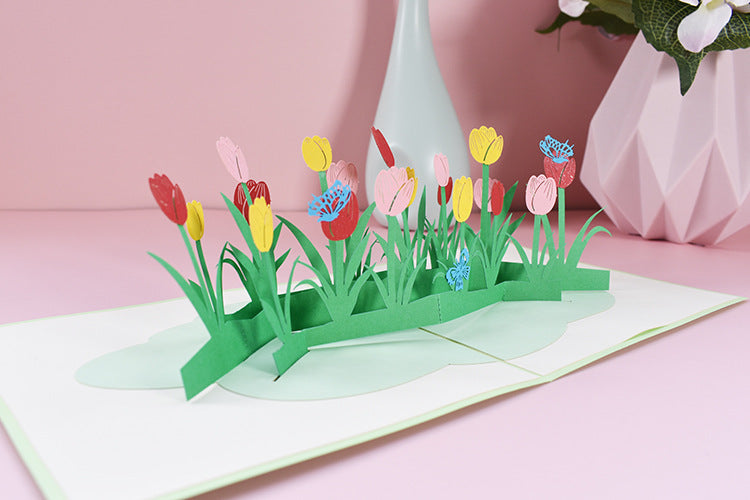 tulips field pop up card - angle view