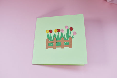 tulips field pop up card - front cover