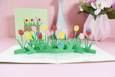 tulips field pop up card - main view
