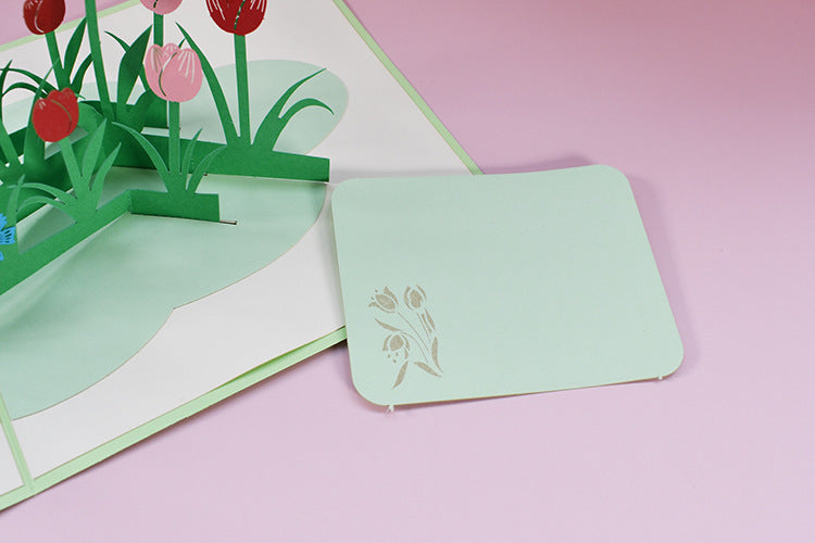tulips field pop up card - tag message card