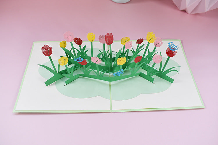 tulips field pop up card - top view