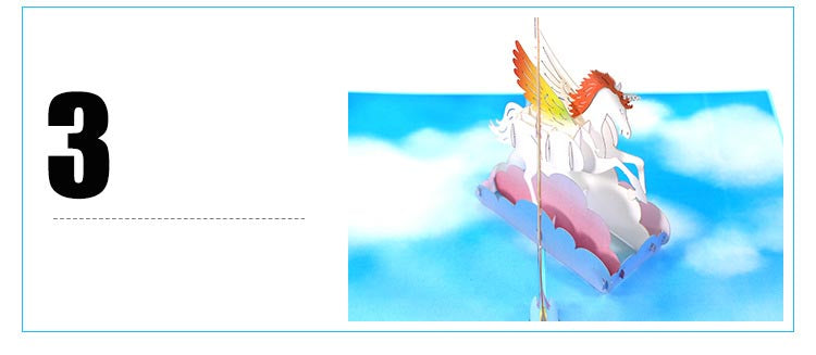 unicorn and rainbow pop up card details 3