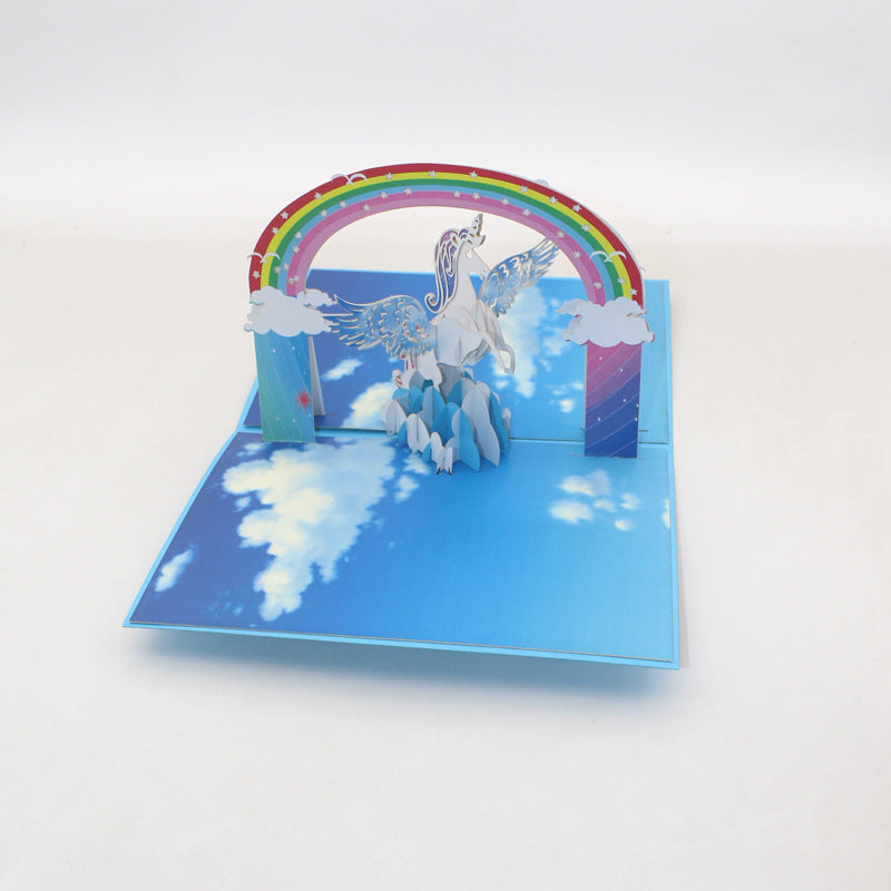 unicorn pop up card - front view
