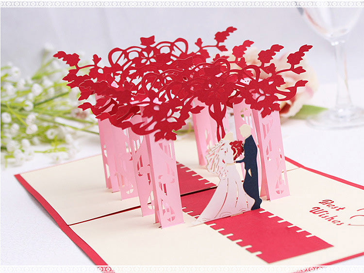 wedding pop up card angled view - white background