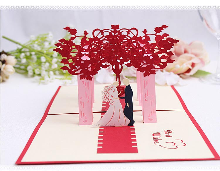 wedding pop up card front view