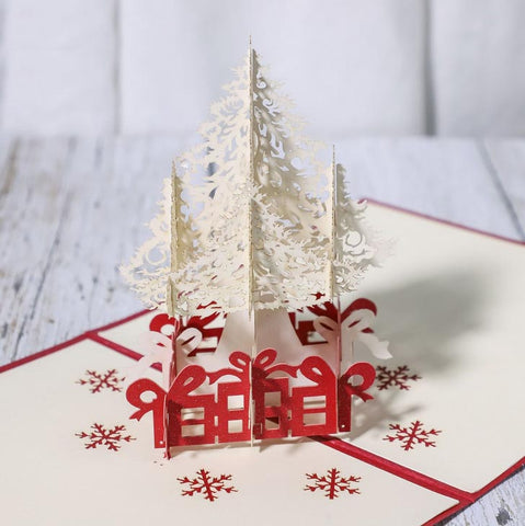 white christmas tree pop up card - view from an angle