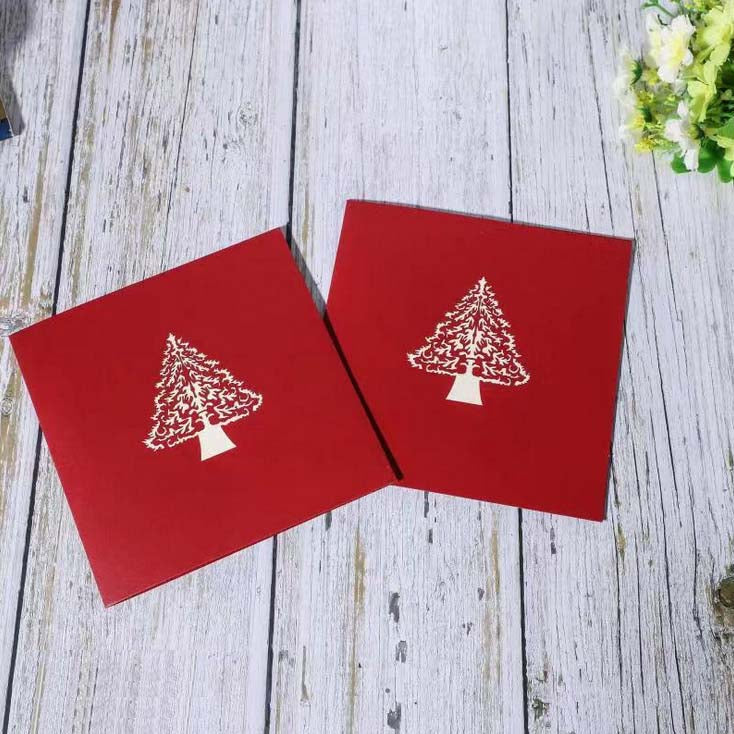white christmas tree pop up card - front cover - two cards
