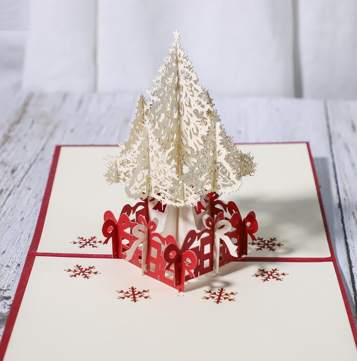 white christmas tree pop up card - front view