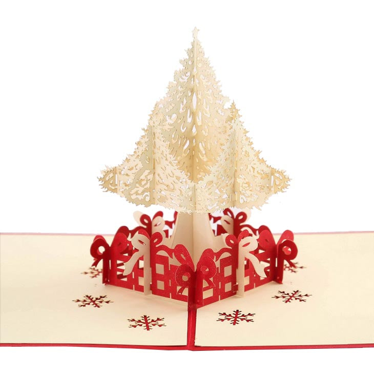 white christmas tree pop up card - side view on white background