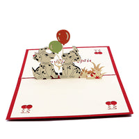 3d popup birthday greeting card with little Dalmatians - rear view