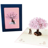 3d popup greeting card - lovers under cherry tree