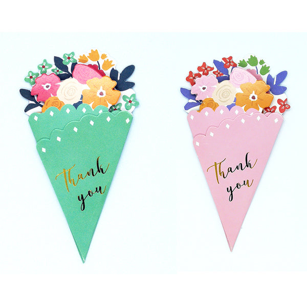 Small-Flower-Bouquet-Shaped-Classic-Greeting-Card-Thank You-green-and-pink-front-cover