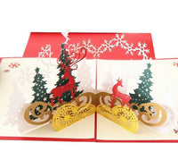 Christmas Card - Red Reindeer Pop Up - Q&T 3D Cards and Envelopes