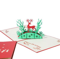 Christmas Card - Reindeer In The Woods - Q&T 3D Cards and Envelopes